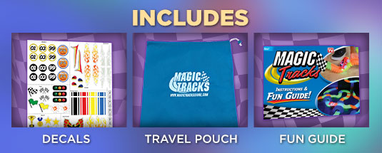 Includes: decals, travel pouch, fun guide